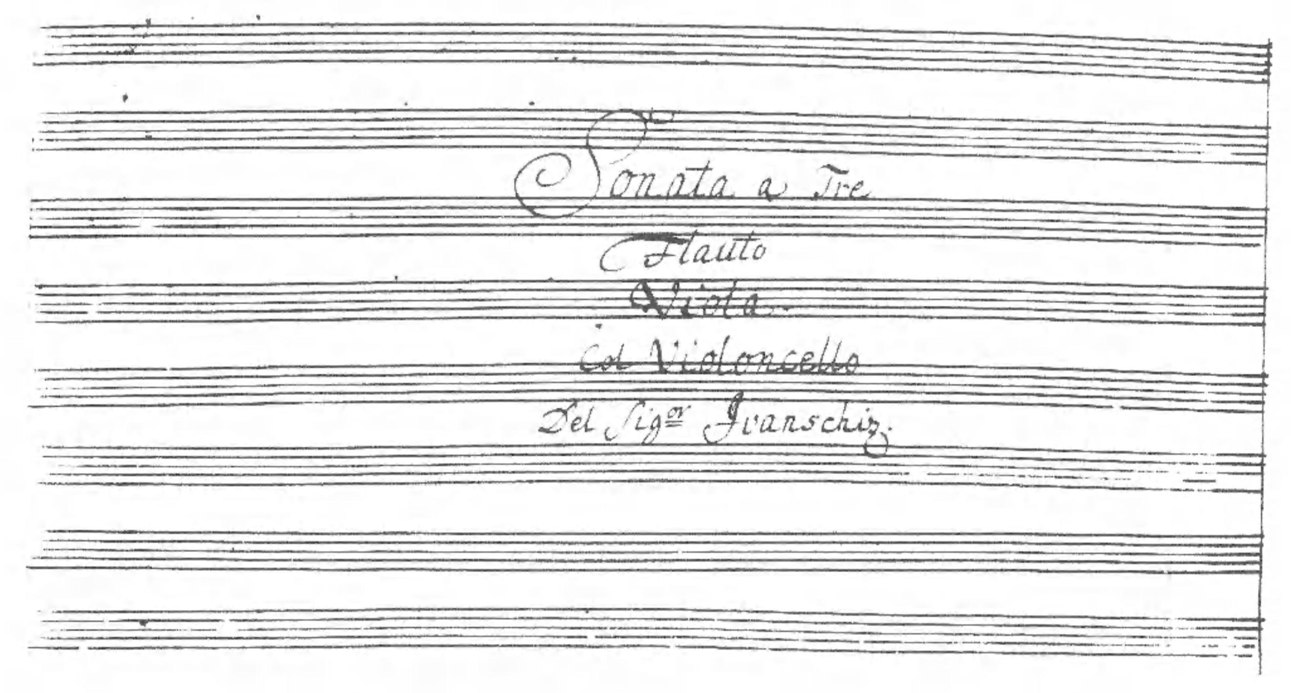Title page of the Sonata a tre in G major (IV). Badische Landesbibliothek                   Karlsruhe, Ms. 225.