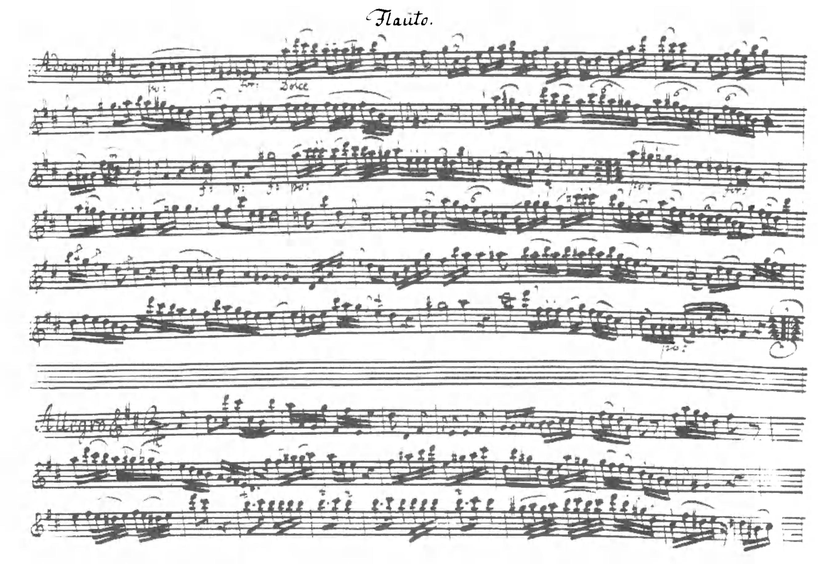 Sonata a tre in D major (V), first page of the flute part. Badische                   Landesbibliothek Karlsruhe, Ms. 229.